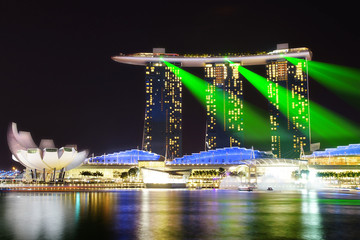 Marina Bay Sands and Artscience at night.