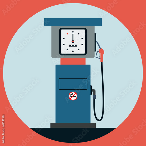 Fuel station pump flat vector illustration