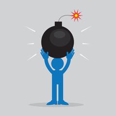 Figure holding large lit bomb