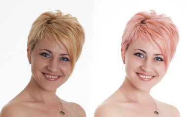 Woman portrait before and after computer retouching. Face of bea