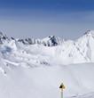 Warning sing on ski slope