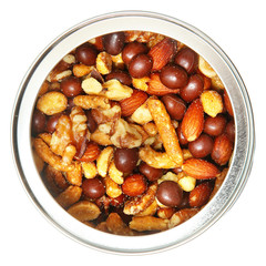 Open Tin Can of Mixed Nuts Over White