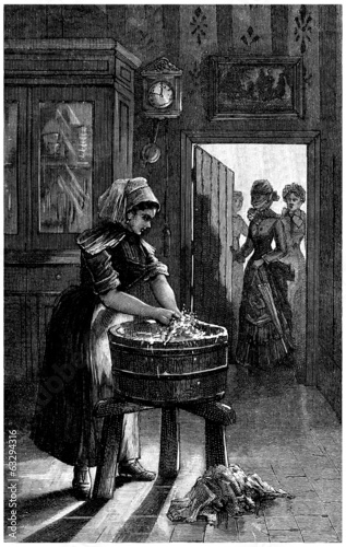 A Servant : Washing - end 19th century