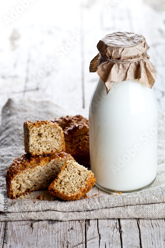 bottle of milk and fresh baked bread