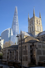 LONDON, UK - MARCH 29, 2014  Southwark Cathedral and Shadr