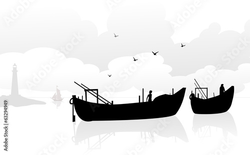 Fishing Boats at Seashore-vector