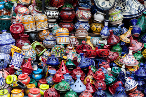 Tajines, plates and pots on the market in Morocco