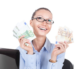 Smilling businesswoman  with euros in hands