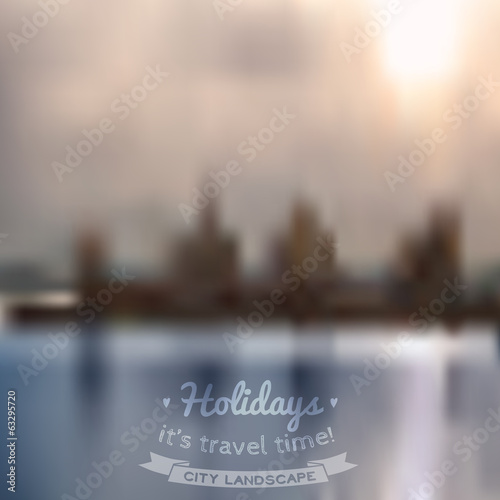 Vector blurred background with city and river