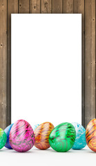 Wooden frame with ester eggs
