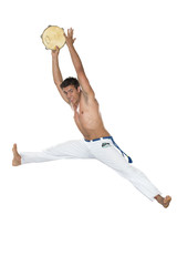Capoeira, Brazilian Man jumping with tambourine