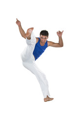 Capoeira, Brazilian Man jumping, white and blue