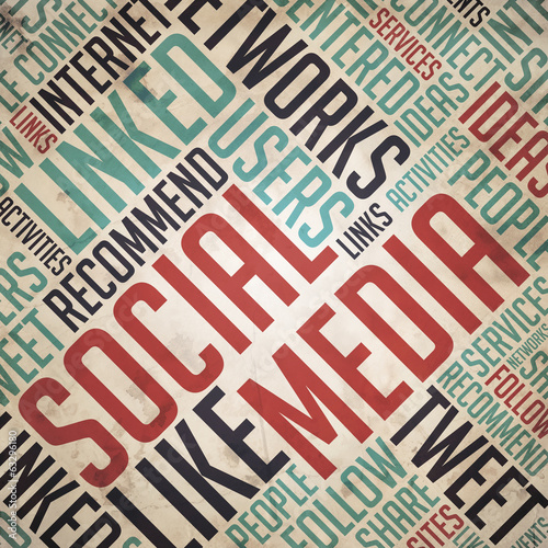 Social Media Concept - Vintage Wordcloud.