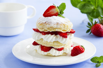 Millefeuille with strawberries and cream.