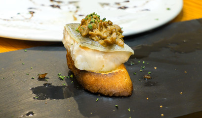 Typical spanish codfish pincho.