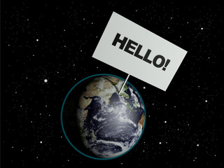 Message board on earth with the text word Hello.