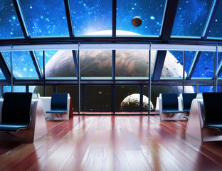 Exploration, Modern interior view of a celestial planet.