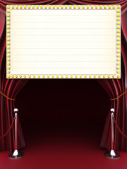 Marquee with curtains, red carpet. Room for text