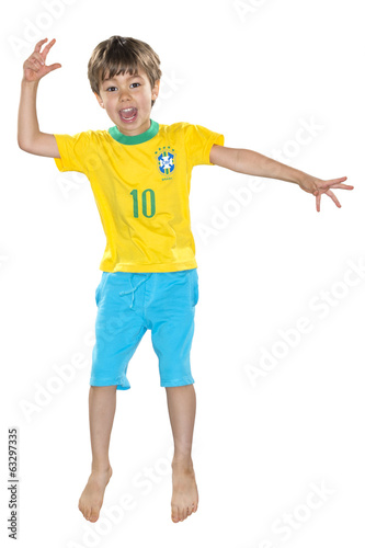Brazilian Boy, jumping, yellow and blue