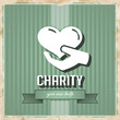 Charity Concept on Green in Flat Design.