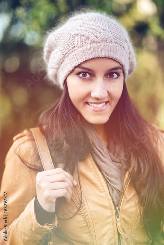 Portrait of gorgeous looking woman outside in nature