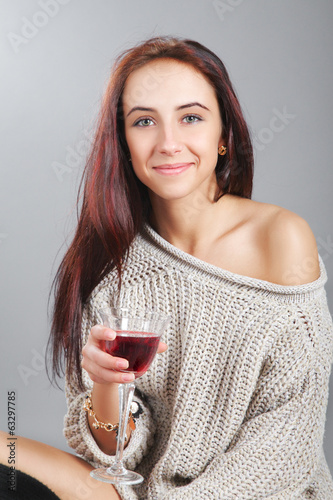 girl with wine