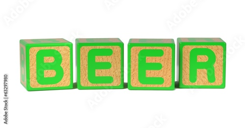 Beer - Colored Childrens Alphabet Blocks.