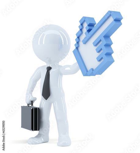 Businessman with huge pixel pointer. Isolated with clipping path