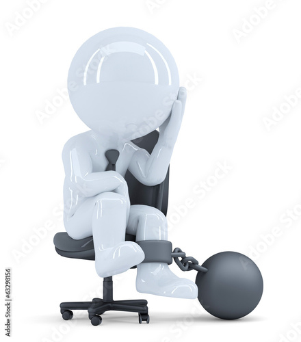 Businessman chained to his chair. Isolated with clipping path