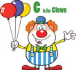 Funny Clown Cartoon Character With Balloons And Letter C