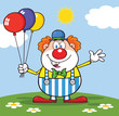 Funny Clown Cartoon Character With Balloons And Waving On Meadow