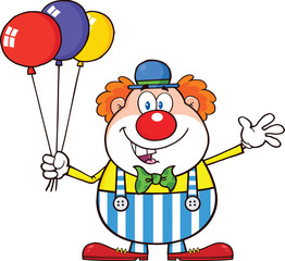Funny Clown Cartoon Character With Balloons And Waving