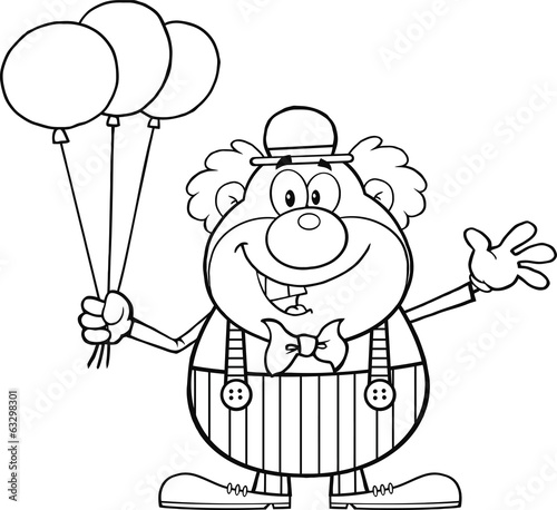 Black and White Funny Clown Character With Balloons And Waving
