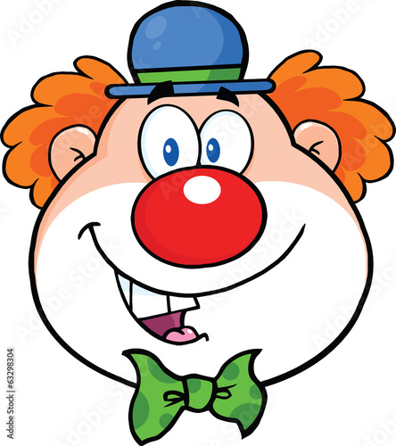 Funny Clown Head Cartoon Character