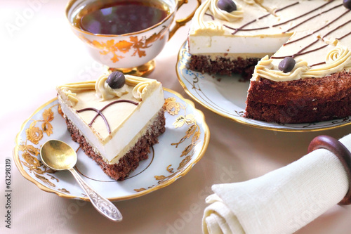 Cappuccino cake with chocolate biscuit and butter cream