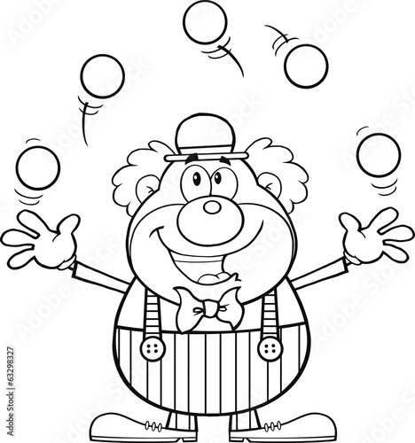 Black and White Funny Clown Character Juggling With Balls