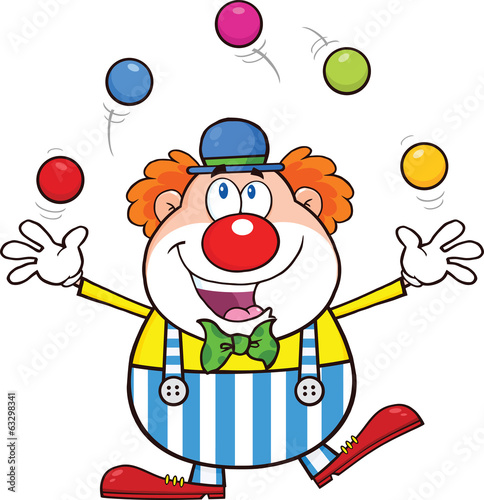 Funny Clown Cartoon Character Juggling With Balls