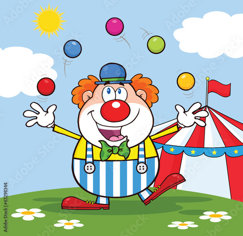 Funny Clown Juggling With Balls In Front Of Circus Tent