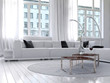 Amazing white loft living room interior