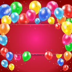 Balloons on red background