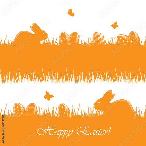 Orange Easter background with eggs and rabbits