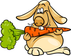 lop rabbit with carrot cartoon