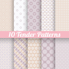 Tender loving wedding vector seamless patterns (tiling).
