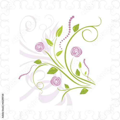 Bouquet of stylized roses in ornamental frame