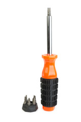 Orange screwdriver with interchangeable tips