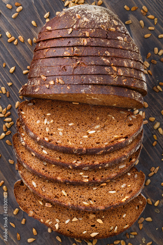 Tasty fresh bread with sunflower seeds