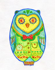 Watercolor Drawing of Egg Shaped Owl