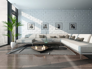 Nice living room interior with couch and brick wall