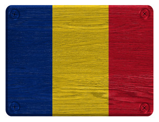 Romania flag painted on wooden tag
