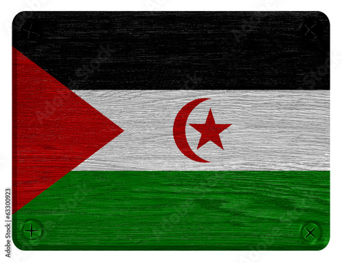 Western Sahara flag painted on wooden tag